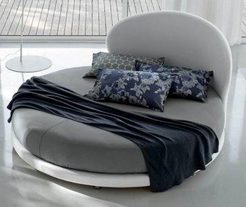 Vendita online letto rotondo rivestito in tessuto a forma di conchiglia - Gardinistore