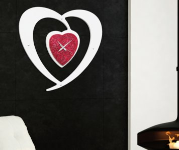 Orologio cuore rosso