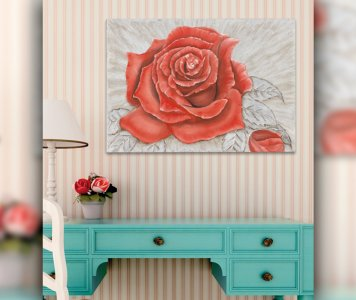 Quadro rose rouge