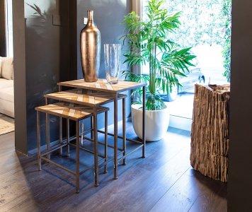 Set 3 Tavolini Ferro e Legno