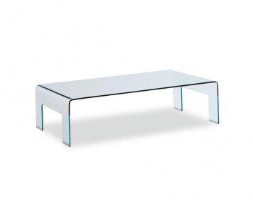 tavoli calligaris - tavolino real in vetro curvato