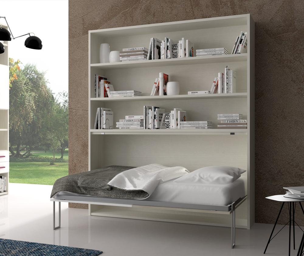 Letto singolo orizzontale spazio libreria - Libreria con letto a scomparsa ...