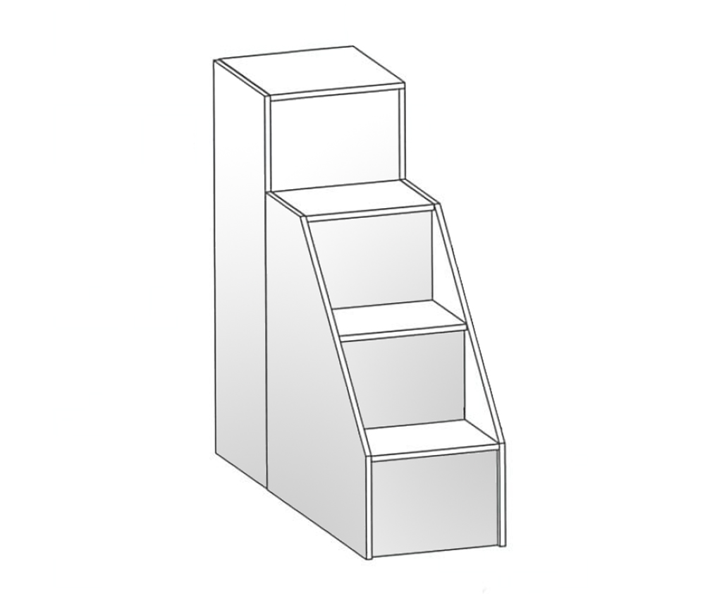 Scaletta 4 gradini per letto soppalco for Coprigradini per scale in legno ikea