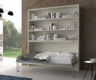 Letto singolo orizzontale spazio libreria