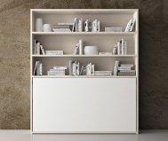 Mobile letto singolo orizzontale con libreria - SPAZIO