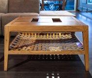 Tavolino legno ripiano intreccio